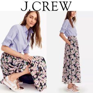 🔖New 00 J. CREW Floral Print Maxi Chiffon Skirt